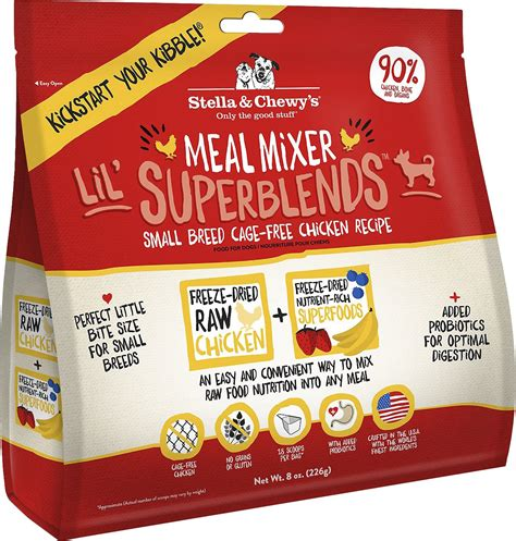chewy puppy food stella chewy s superblends cage free small breed chicken recipe meal mixers grain