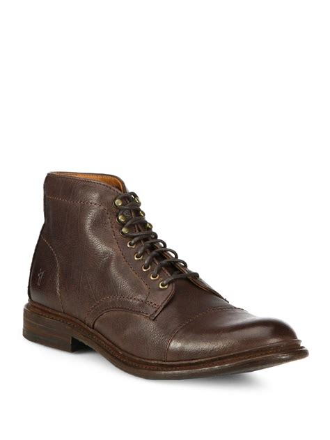 frye lace up boots frye leather lace up boots in brown for lyst