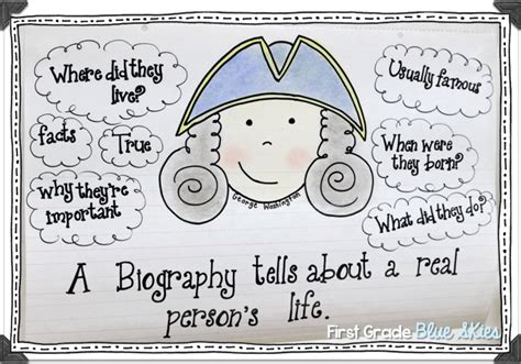 autobiography anchor chart anchor charts pinterest writing biographies freebie first grade blue skies