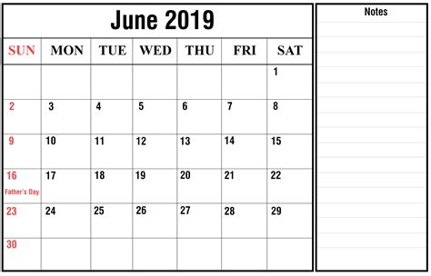 june  printable calendar template   excel