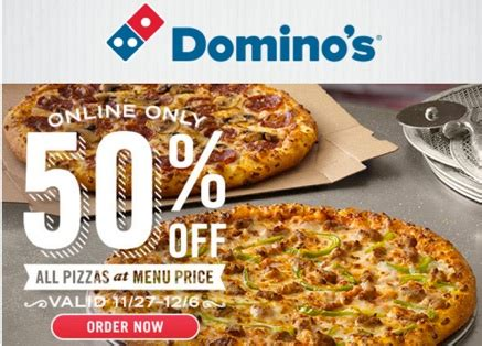 domino pizza offer today dominos pizza coupon 50 off all pizzas online orders only
