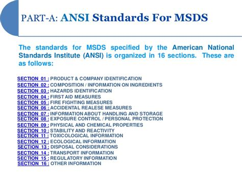 how many sections in sds msds presentation