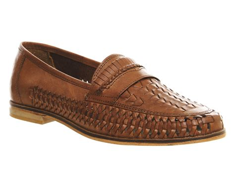 brown slip on loafers lyst office bow weave slip on loafers in brown for