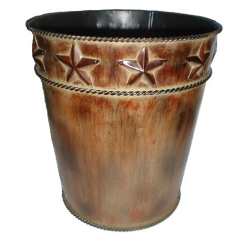 western bathroom accessories rustic western styled metal wastebasket
