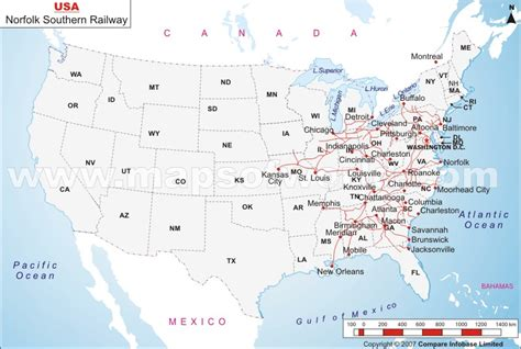 railway maps usa norfolk southern railway