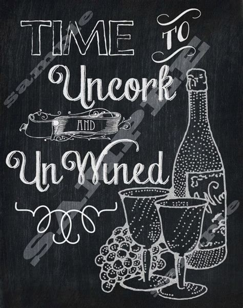 printable wine quotes chalkboard art wine quote art print time to uncork and