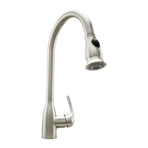 cosmo single handle pull down sprayer kitchen faucet with ceramic disc valve in brushed nickel