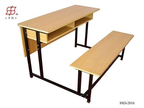 student bench wooden school student desk double seater bench view