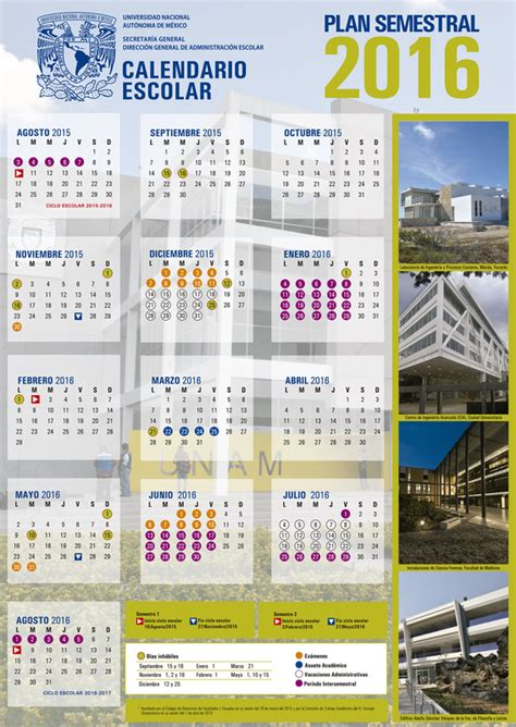 Calendario Escolar Unam 2015 16 Calendario Unam Plan Semestral 2016