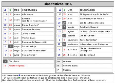 Calendario De Dias Festivos 2015 Feriados Y Dias Festivos 2015 Para Colombia Universo