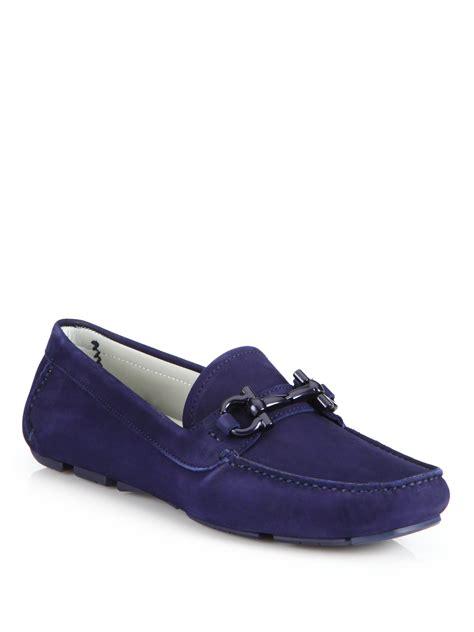 suede bit loafers ferragamo parigi suede driving bit loafers in blue lyst