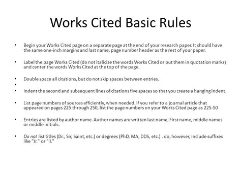 How To Do Works Cited For Research Papers by Works Cited On Research Paper