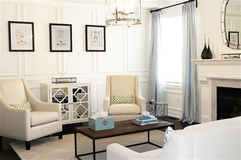 Full Wall Wainscoting   Transitional   living room   Behr Custom Antique White   AM Dolce Vita