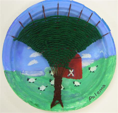Paper Plate Weaving Craft - stephens in the room tree weaving with third