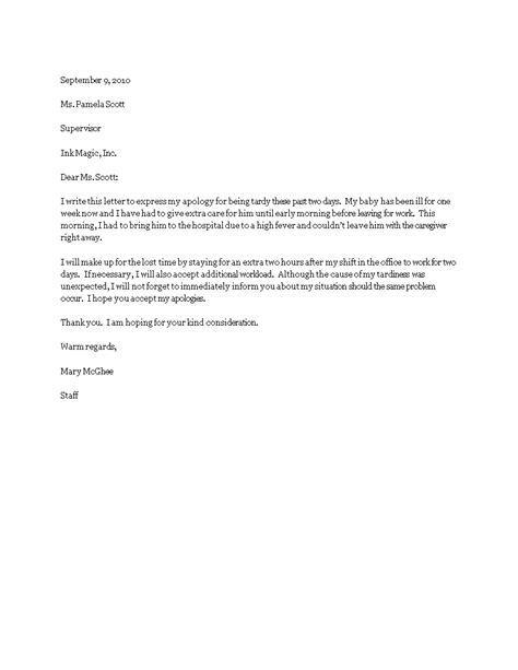 free apology letter for tardiness templates at allbusinesstemplates