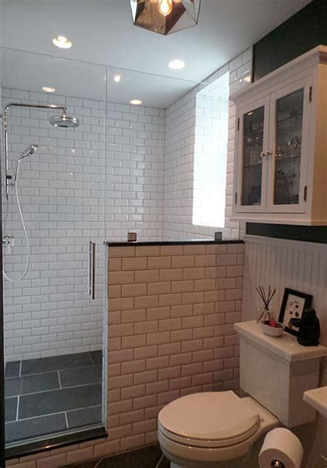 thermostatic rain shower slate tiles beveled subway tiles pony wall walk  shower