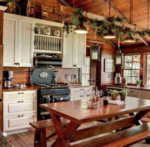 Cabin Style Kitchen Cabinets Antique Reproduction Stove Mountain Cabin