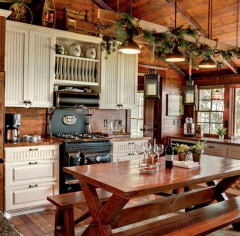 cabin kitchen ideas antique reproduction stove mountain cabin