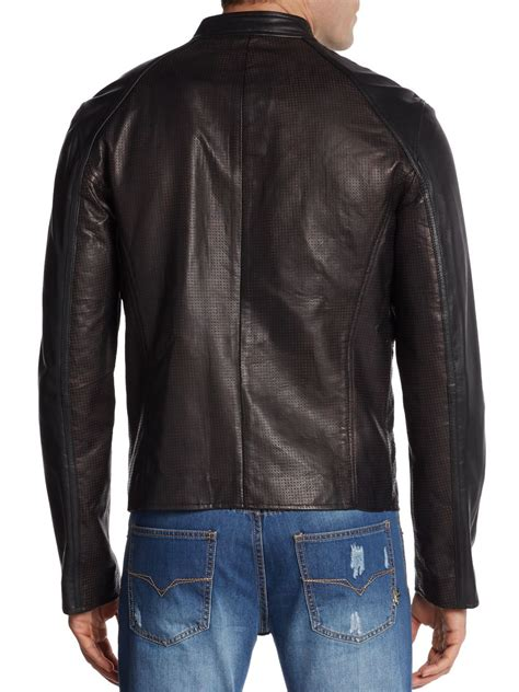 perforated leather motorcycle jacket lyst versace jeans perforated leather moto jacket in