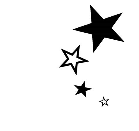 black star tattoo outline and black silhouette tattoos designs