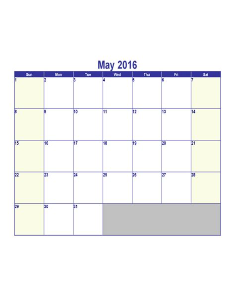 may 2016 calendar template free download