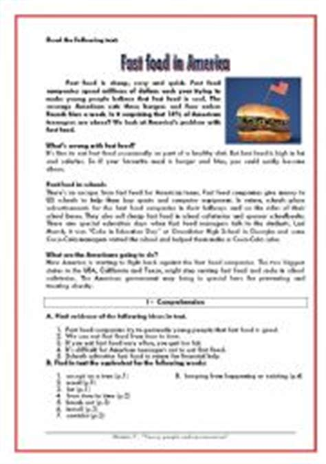 reading comprehension test about food reading comprehension exercises for advanced esl 478