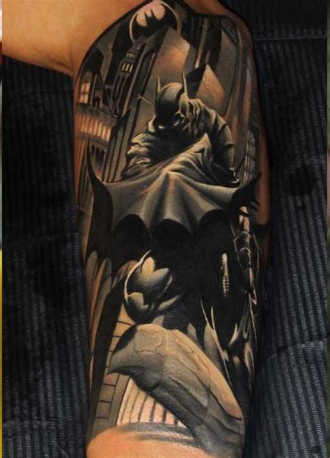 batman tattoo sleeve half sleeve tattoos