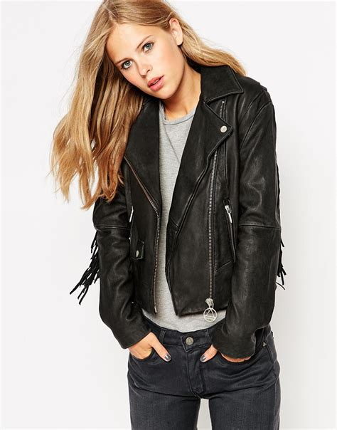 Jaket Fashion lyst eleven fringe leather jacket in black