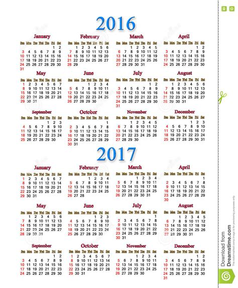 calendar for 2016 and 2017 years stock illustration