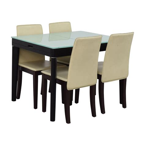 expandable glass and wood dining set tables and the