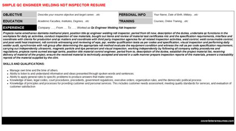 Ndt Inspector Cover Letter by Qc Engineer Welding Ndt Inspector Cover Letter Resume 39510