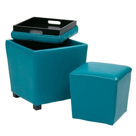 Childrens Storage Ottoman 2 Vinyl Ottoman Set In Blue Met361v Pb7