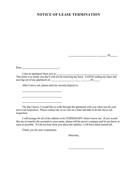 Termination Of Lease Letter Template For Landlord Best Photos Of Exles Of Lease Termination Letters