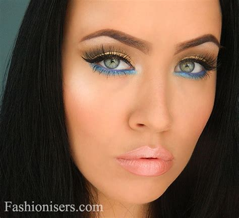 eyeliner tutorial under gold makeup tutorial with blue under eye liner fashionisers