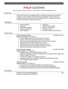 best technical project manager resume exle livecareer