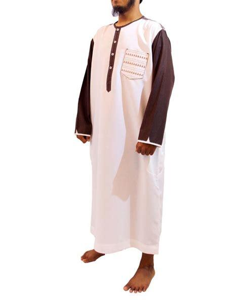 Jubah Putih Pria Samase Baju Jubah Pria Warna Putih Coklat Lengan Panjang