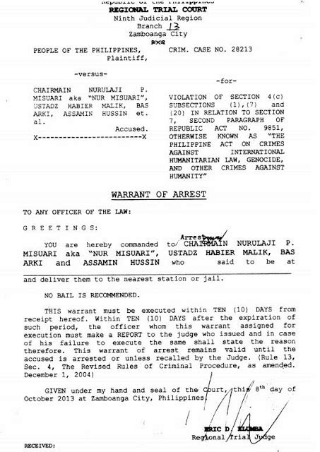 bench warrant of arrest philippines warrant of arrest 101