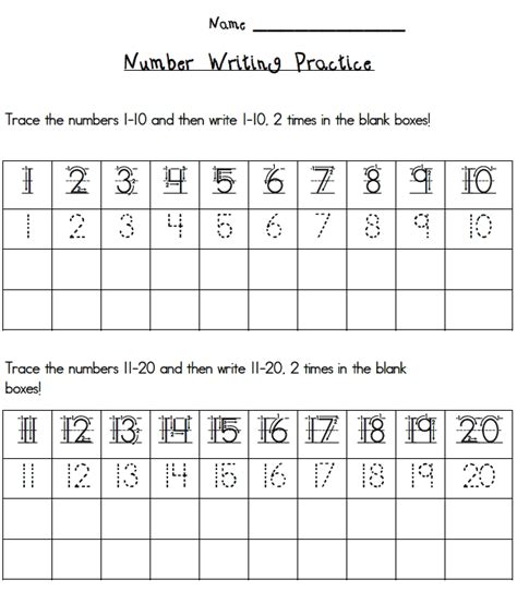 handwriting worksheets with numbers printable writing numbers 1 20 printables esgi one on one