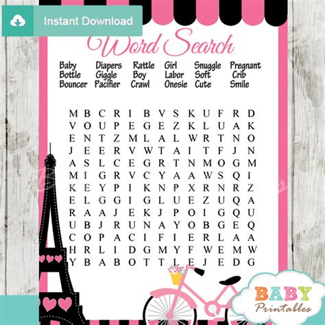 Pink paris eiffel tower baby shower games d222 baby printables