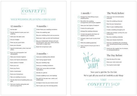 Wedding Checklist Detailed by The Ultimate Wedding Planning Checklist Confetti Co Uk