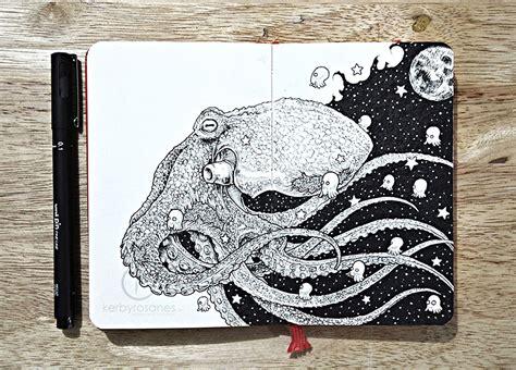 doodle hewan scarabocchi disegni dettagliati penna kerby rosanes 06