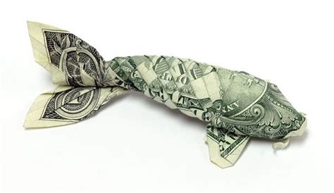 Origami Koi Fish Dollar - how to make an origami fish out of a dollar bill origami