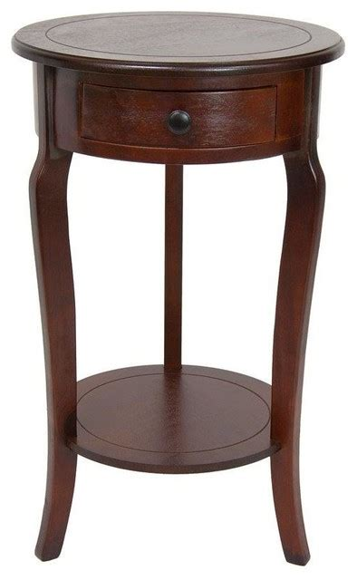 wood round accent side end table drawer shelf display classic round end table w drawer cherry transitional side