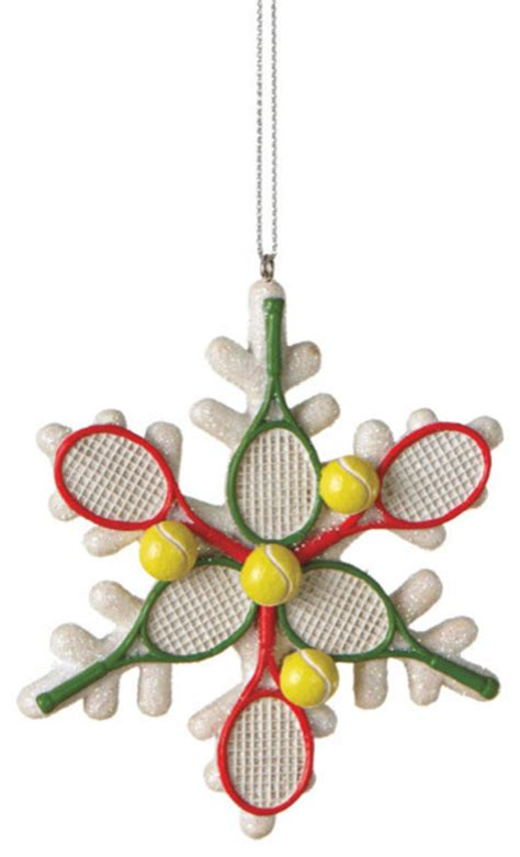 tennis racquet snowflake christmas tree ornament sports