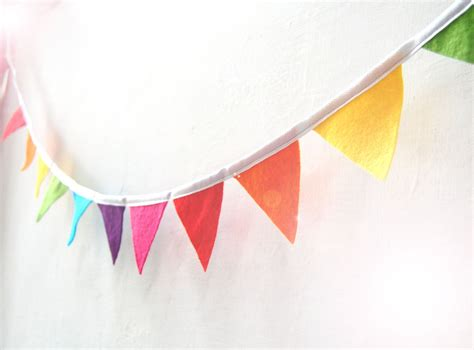 Bunting Flag Banner mini rainbow bunting colorful funky felt flag banner