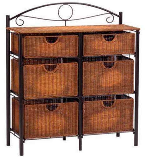 Chest With Wicker Basket Drawers by New 6 Wicker Basket Drawers Metal Frame Dresser Chest Iron