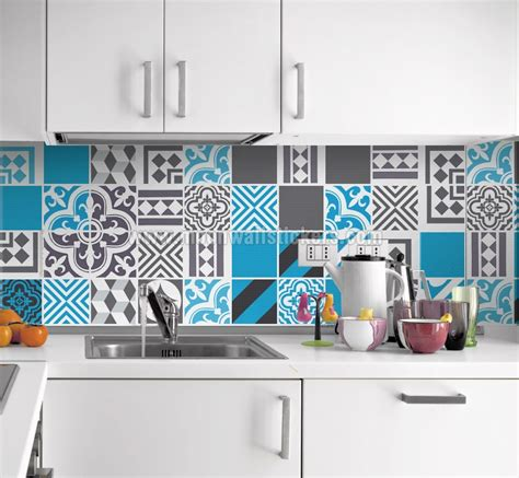 Kitchen Backsplash Decals Stickers To Cover Tiles Blue Dreams