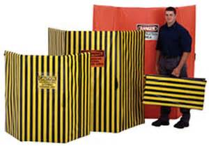 Heavy Duty Room Dividers - tri fold safety screens safety striped vinyl barricades