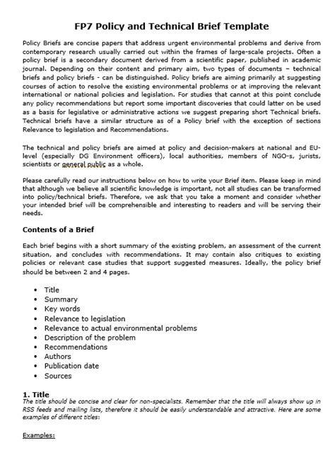 policy brief template free word templates
