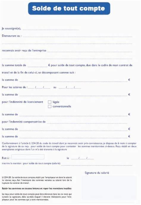 Exemple De Lettre Solde Tout Compte Modele Certificat De Travail Et Solde De Tout Compte